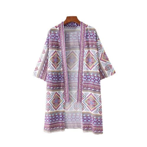 Nowe mody Kobiety Szyfonowa Kimono Cardigan Geometria druku Luźna Bohemian wierzchnia Plaża Cover Up Purpurowy