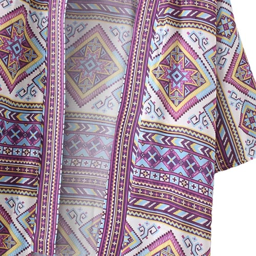 New Fashion Women Chiffon Kimono Cardigan Geometric Print Loose Bohemian Outerwear Beach Cover Up Purple