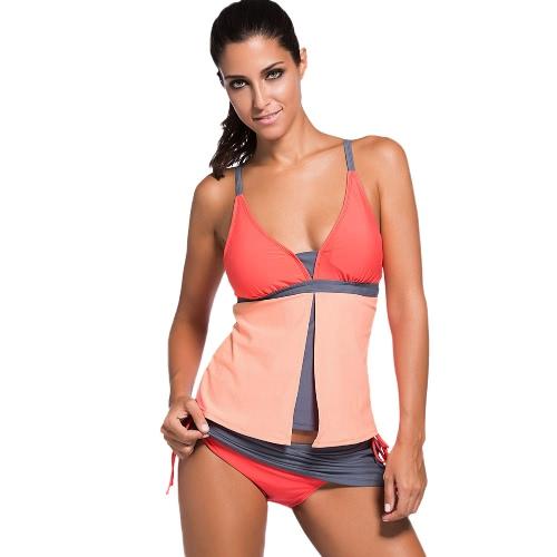 Atractivo contraste Mujeres de baño bikini traje de baño determinado color de la correa de espagueti acolchado de dos piezas traje de baño ropa de playa