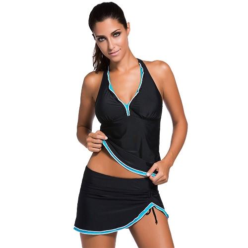 Las mujeres Traje de baño atractivo Tankini halter con cuello en V sin respaldo Skort inferior acanalada playa de los trajes de dos piezas traje de baño Black1 / Black2 / Azul