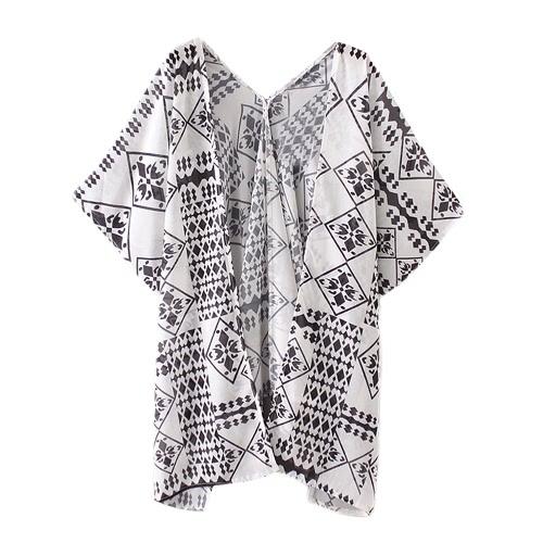 New Mulheres Chiffon solto Cardigan frente aberta Geometric Impressão Manga curta fina Vintage Casacos Branco Casual