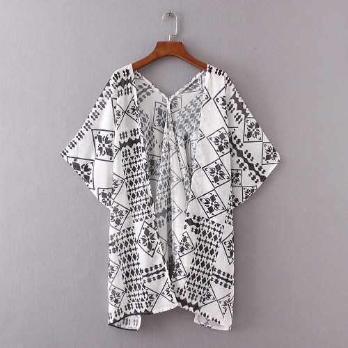 New Women Chiffon Loose Cardigan Open Front Geometric Print Short Sleeves Thin Vintage Casual Outerwear White