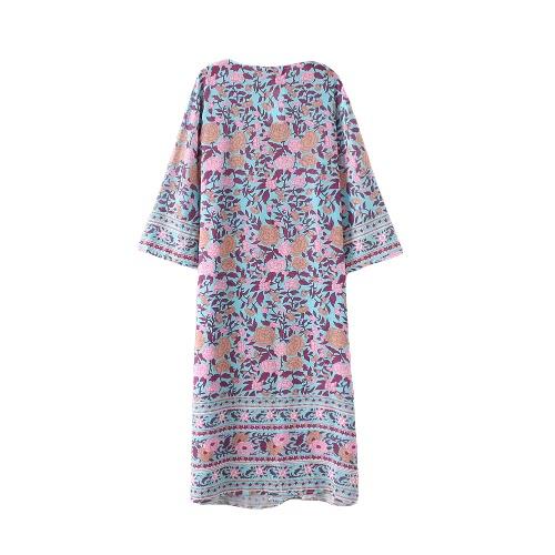 Neue Frauen-Kimono Cardigan Strand-Vertuschung-Blumendruck Chiffon Boho lang lose beiläufige Bluse Top Bademode Blau