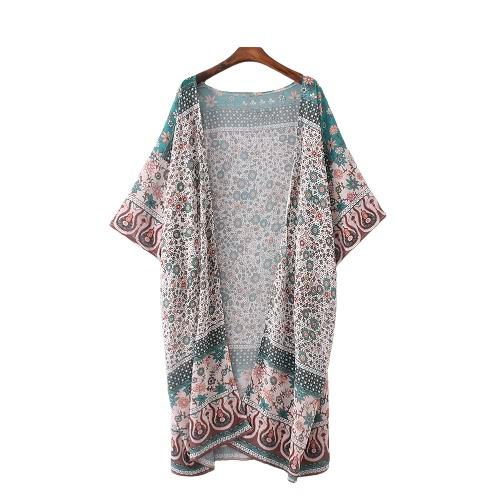 Mulheres Chiffon Vintage Kimono Cardigan Floral Imprimir Boho solto Casacos Beachwear Bikini Cover Up Verde
