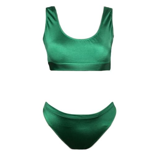 Atractivo bikiní de las mujeres del color sólido del O-Cuello sin mangas ocasional elegante bañador Traje de baño Trajes de baño de dos piezas