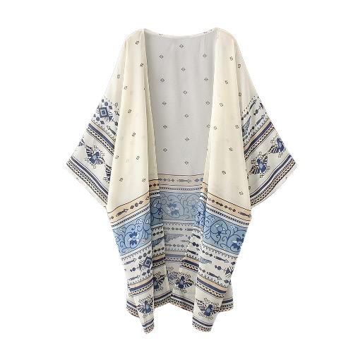 Mulheres Kimono Cardigan Verão Chiffon Blusa Top Impressão Longo solta Praia Cover Up Amarelo