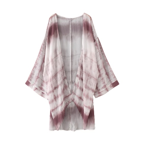 Nueva gasa de las mujeres del kimono de Cardigan Beach Cover Up contraste de impresión Boho largo ocasionales flojas top de la blusa blanca
