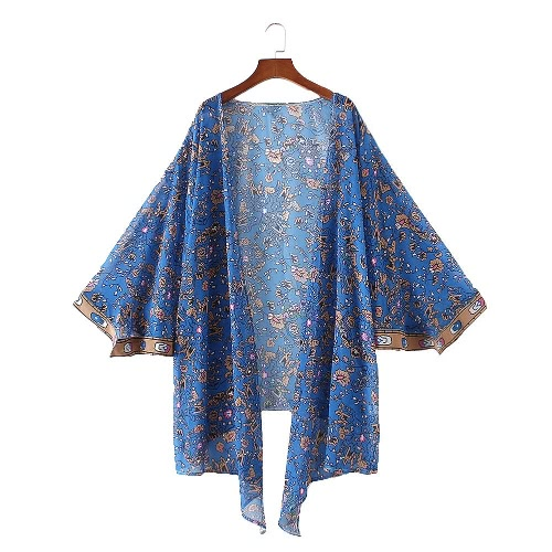 Vintage Women Chiffon Kimono Cardigan Floral Leaves Print Loose Outerwear Beachwear Bikini Cover Up Blue