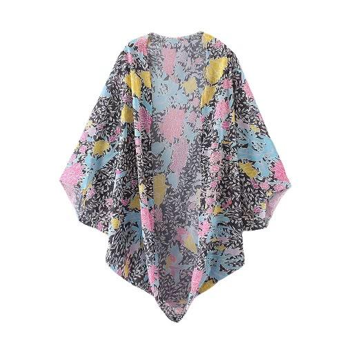 Nueva gasa de las mujeres Cardigan delantera abierta de la impresión floral de murciélago de manga larga suelta la playa de la vendimia de vestir exteriores Cover Up Rose