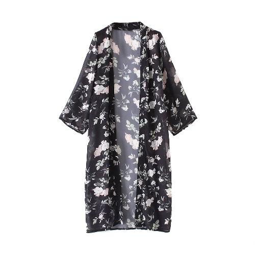 Las mujeres de la gasa larga Cardigan kimono floral de la playa cubre sube hendidura Hem frente abierto de manga larga Bikini Negro de la cubierta