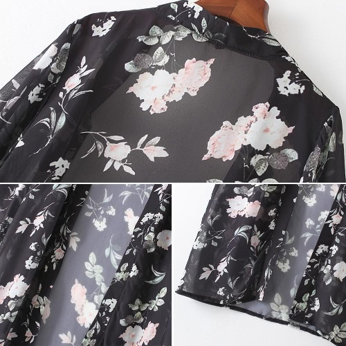 Women Long Chiffon Kimono Cardigan Floral Beach Cover Ups Slit Hem Open Front Long Sleeves Bikini Cover Black