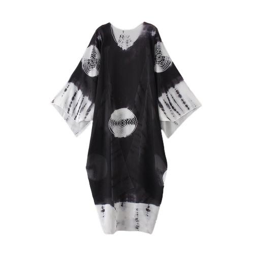 Neue Frauen Chiffon Kimono Cardigan Strand-Vertuschung-Kontrast Druck Langer lose beiläufige Bluse Top Weiß / Blau / Gelb