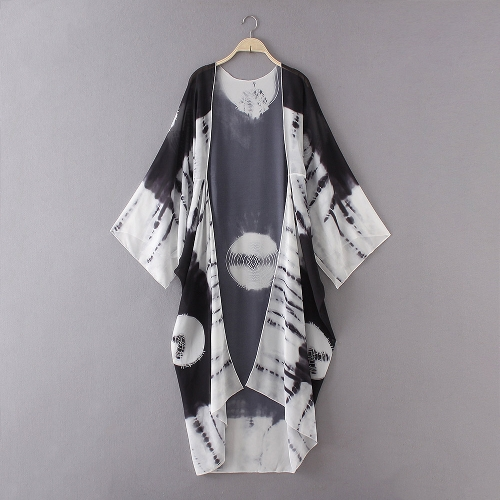 New Women Chiffon Kimono Cardigan Beach Cover Up Contrast Print Long Loose Casual Blouse Top White/Blue/Yellow