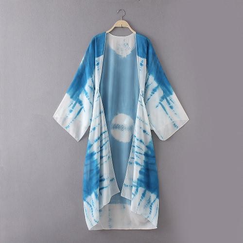Новый женский шифон Кимоно Кардиган Бич Cover Up Контраст печати Длинные Свободный Свободный Блуза Топ белый / синий / желтый