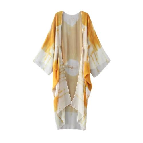 Nueva gasa de las mujeres del kimono de Cardigan Beach Cover Up Contraste de impresión largos ocasionales flojas top de la blusa blanco / azul / amarillo