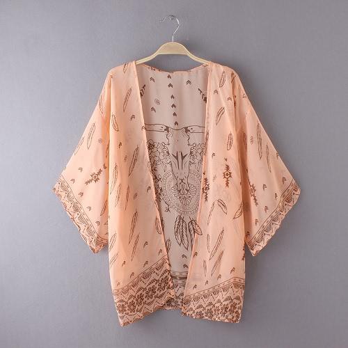 Mulheres do verão camiseta Kimono Boho Cardigan Imprimir Vintage blusa solta Praia Cover Up Casacos Laranja / Verde