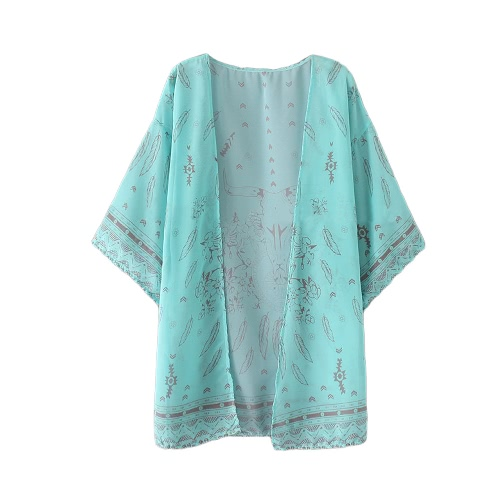 Camisa de las mujeres del verano de Boho kimono Cardigan de impresión de la vendimia la blusa floja de la playa cubre para arriba la prendas de vestir exteriores naranja / verde