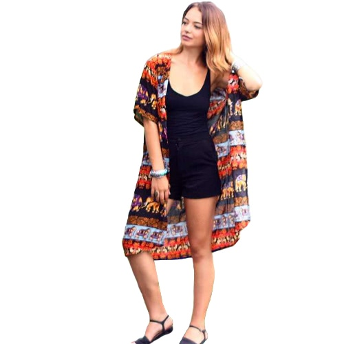 Donne Camicetta Top Estate Kimono Cardigan Elephant Stampa Boho Loose Beach Coprire Felpe Orange