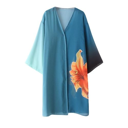 Donne Chiffon Kimono Cardigan Stampa Floreale Boho Felpa Outerwear Beachwear Copricapo Bikini Blu
