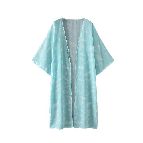 Frauen-Sommer-Hemd Kimono-Weinlese-Druck-Blusen-Boho-Wolljacke-lose Strand-Abdeckungs-Oberbekleidung-Blau