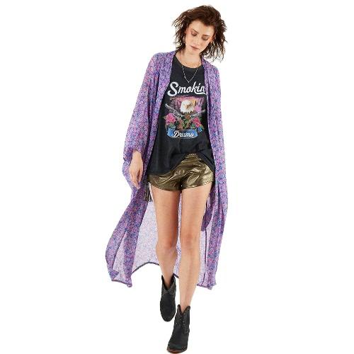 Frauen-Weinlese-Blumen-Druck-Chiffon- Blusen-Hemd Lose Kimono-Wolljacke-Strand-Abdeckungs-Outerwear Lila