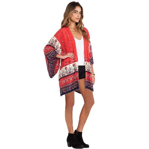 Mujeres Chiffon Kimono Cardigan Bikini Cover Up Impreso Boho Long Loose Casual Beach Robe Blusa Top Rojo / Amarillo
