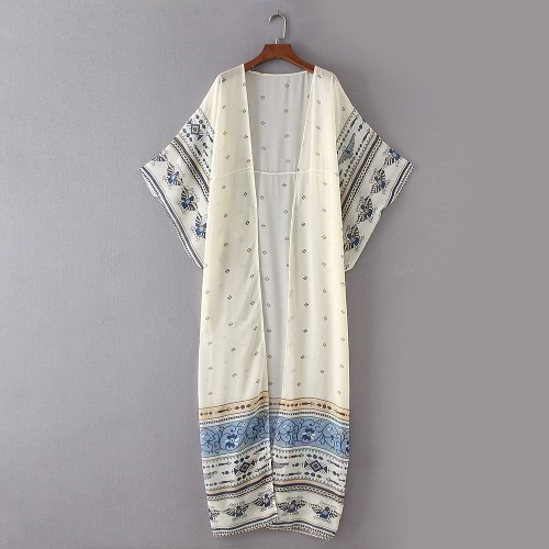 Women Chiffon Kimono Cardigan Bikini Cover Up Printed Boho Long Loose Casual Beach Robe Blouse Top Blue