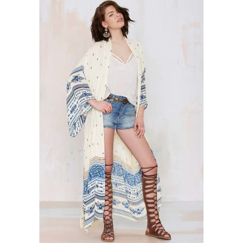 Mulheres Chiffon Kimono Cardigan Bikini Cover Up Impresso Boho Long Loose Casual Beach Robe Blusa Top Blue