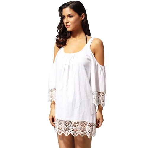 Moda Shoulder Lace Trim Round Neck Beachwear Cobertura feminina