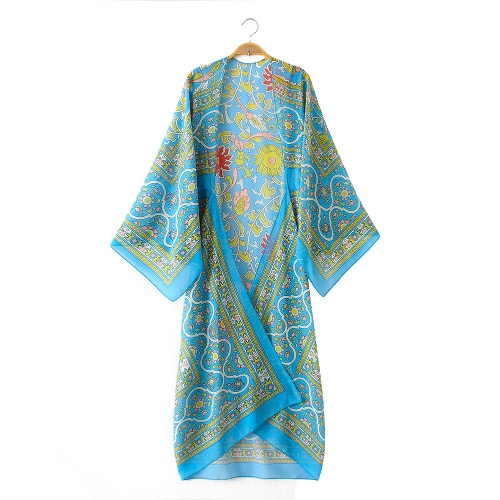 La vendimia de las mujeres de la gasa del kimono de la rebeca étnica Boho imprime el bikiní largo del bikiní de la prendas de vestir exteriores de la prendas de vestir exteriores cubre para arriba Rose / azul / café