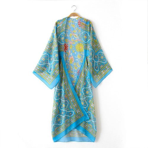 Vintage Women Chiffon Kimono Cardigan Ethnic Boho Print Loose Long Outerwear Beachwear Bikini Cover Up Rose/Blue/Coffee