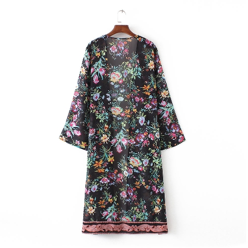 New Women Chiffon Loose Cardigan Open Front Floral Print Manga comprida Thin Vintage Casual Outerwear Preto / Branco