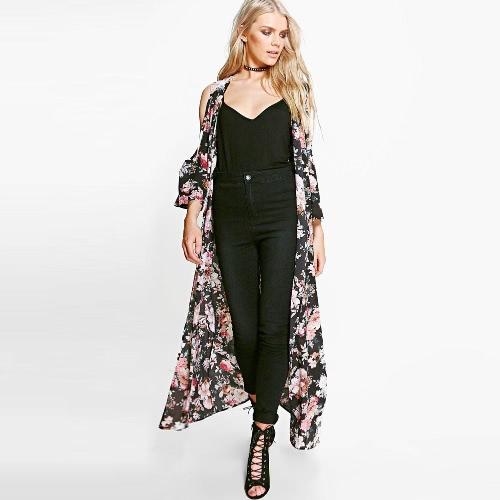 Nuevas mujeres de gasa suelta rebeca abierta frontal de impresión floral 3/4 mangas finas vintage informal prendas de vestir negro
