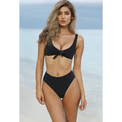 Sexy Women Bikini Set Solid Color Bandage Skimpy Swimwear Two-Piece Beach Swimsuit Blue/Black/Red
