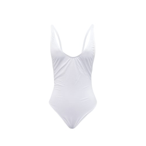 Las mujeres atractivas de corte alto sin cuello profundo V cuello bajo lado sólido trajes de una pieza