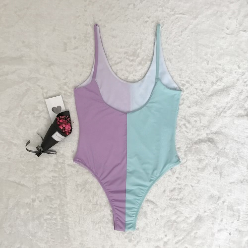 Women High Cut Backless Swimsuit Color Block Low Neck One Piece Bathing Suits Swimwear
