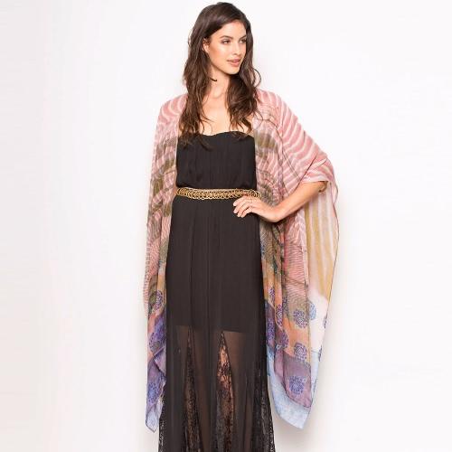 Art und Weise Chiffon- lose Wolljacke-vorderer Blumendruck Weinlese-Frauen-Kimono