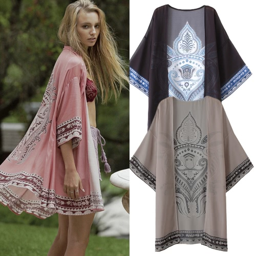 Women Summer Long Chiffon Cardigan Kimono Positioning Printing Beach Cover Up Bikini Outwear Khaki/Black/Pink