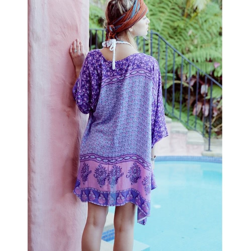 Women Chiffon Kimono Cardigan Boho Ethnic Print Loose Long Bikini Cover Ups Beachwear