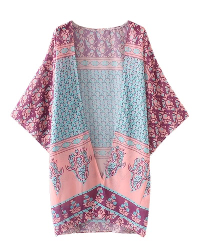 Kobiety Chiffon Kimono Cardigan Boho Ethnic Print Luźne Długie Bikini Okrycia Ocieplane Beachwear