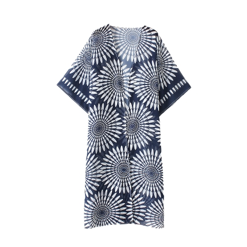 Kobiety Lato Vintage Cardigan Geometry Drukuj Kimono Beach Cover Up Bikini Outwear Dark Blue