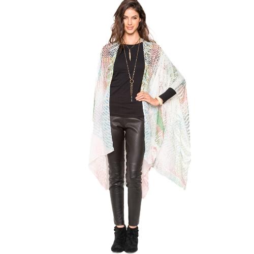 Kimono de la mujer de la impresión del gradiente de la rebeca de la gasa del verano de la manera