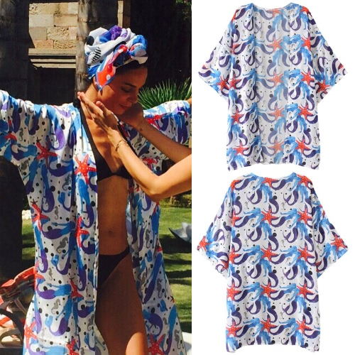 Women Chiffon Beach Kimono Mermaid Print Open Front Loose Thin Casual Sea Holiday Cardigan Blue