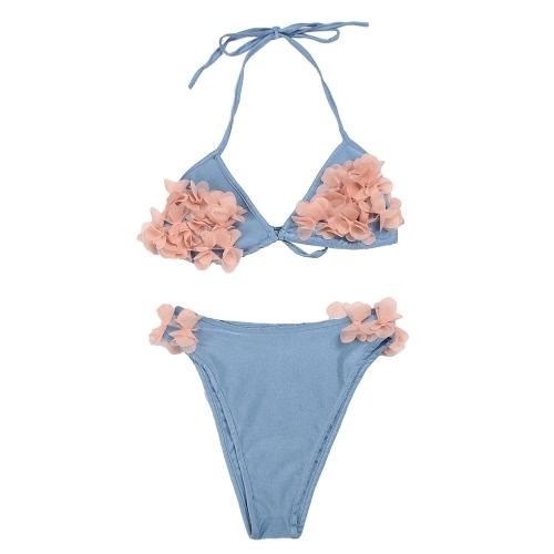 Sexy mujer bikini conjunto floral pétalos halter vendaje push-up Skimpy traje de baño de dos piezas traje de baño
