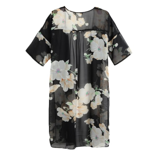 Vintage Chiffon Loose Open Front Floral Print Half Sleeves Quimono feminino