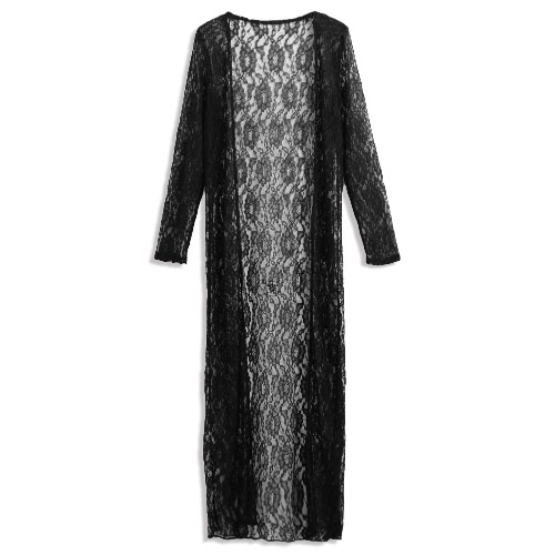 07bfb4b355 Women Floral Lace Kimono Semi Sheer Plus Size Solid Open Front Long Elegant  Beach Cover Up Cardigan