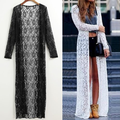 Women Floral Lace Kimono Semi Sheer Plus Size Solid Open Front Long Elegant Beach Cover Up Cardigan