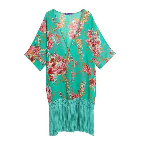 El bikiní atractivo de las mujeres cubre para arriba la gasa de las borlas de la impresión floral semi-transparente que baña el traje de baño largo flojo de la playa del verano del verano
