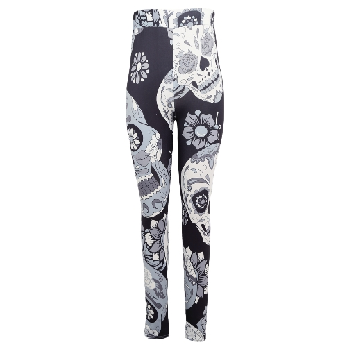Sexy Women Yoga Sports Legginsy Floral Skull Head Diamentowy print High Waist Workout Running Skinny Slim Fitness Pants