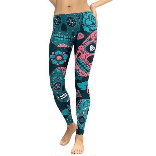 Mujeres atractivas yoga deportes polainas florales cráneo cabeza de impresión de diamante de cintura alta entrenamiento funcionamiento Skinny Slim Fitness pantalones